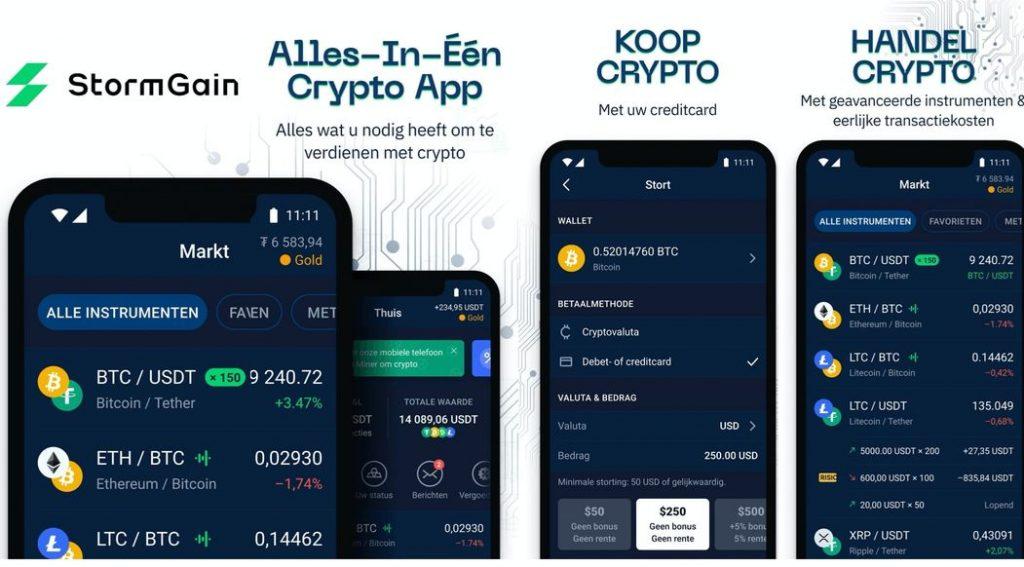StormGain Crypto trading app, crypto leveraged trading